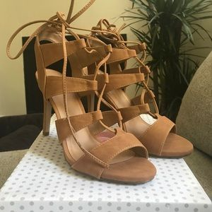Laced Up High Heels - Tan